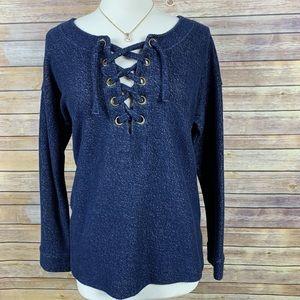 Sanctuary Sz L Blue Lace Up Sweatshirt